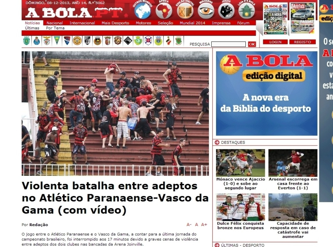 08.dez.2013 - O jornal português A Bola destacou a batalha entre torcedores do Atlético-PR e Vasco