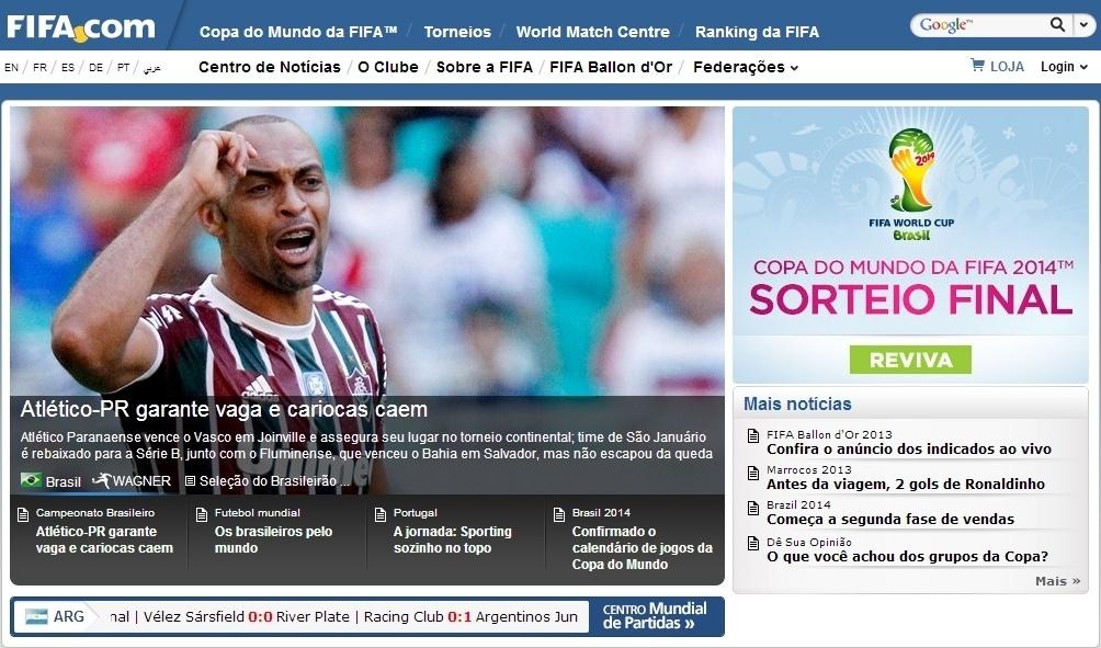 4709cdc4f1 Site da Fifa destaca rebaixamento de Fluminense e Vasco no Brasileirão -  Esporte - BOL
