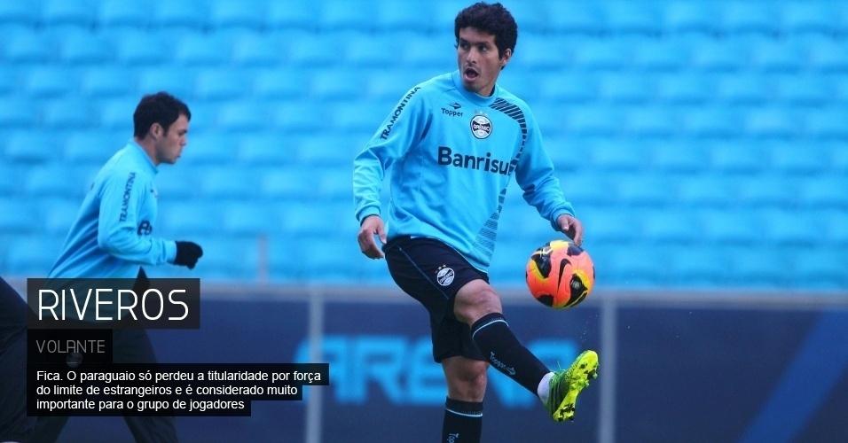 Fica. O paraguaio só perdeu a titularidade por força do limite de estrangeiros e é considerado muito importante para o grupo de jogadores