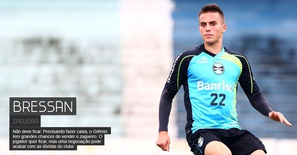 Não deve ficar. Precisando fazer caixa, o Grêmio tem grandes chances de vender o zagueiro. O jogador quer ficar, mas uma negociação pode acabar com as dívidas do clube