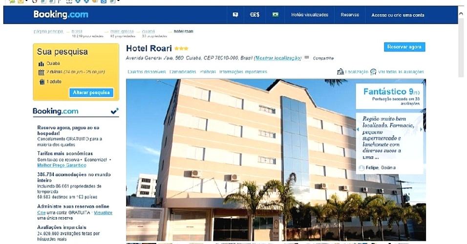 13.dez.2014 - Busca no site booking.com mostra a fachada do Roari Hotel, em Cuiabá: vagas no período da Copa de 2014 apenas pelo site ou pelo concorrente decolar.com