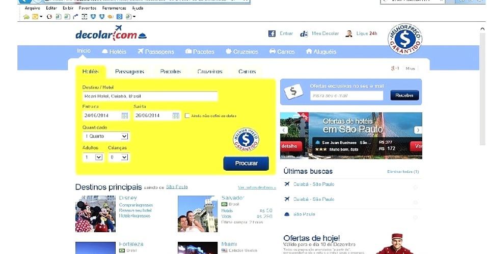 13.dez.2014 - Imagem mostra pesquisa sobre o Roari Hotel no decolar.com para o dia 24 de junho de 2014, quando Japão e Colômbia jogam na Arena Pantanal