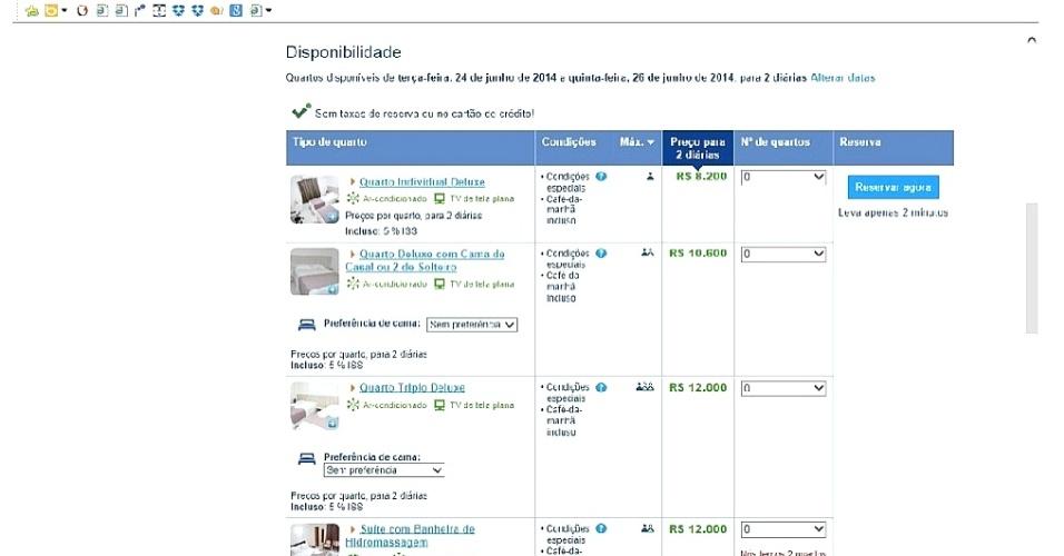 13.dez.2014 - Imagem mostra tela do site booking.com  com resultado de busca pelo Roari Hotel em Cuiabá no dia 24 de junho, quando Japão e Colômbia se enfrentam pela primeira fase da Copa do Mundo: de R$ 4.100 a R$ 6.000