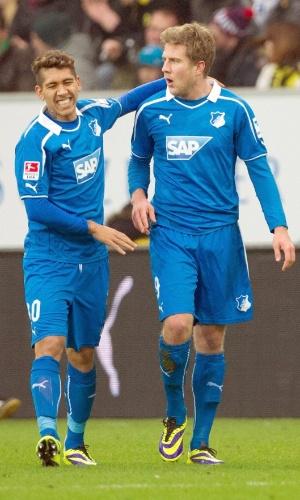 14.12.2013 - Brasileiro Roberto Firmino (sorrindo) deu passe para o gol de Schipplock contra o Borussia Dortmund