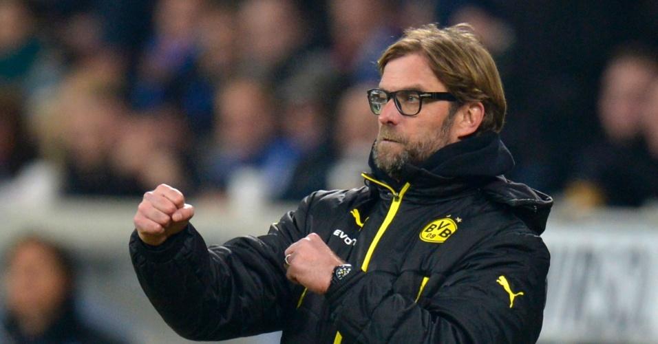 14.12.2013 - Técnico do Borussia Dortmund, Jurgen Klopp faz posição de boxeador