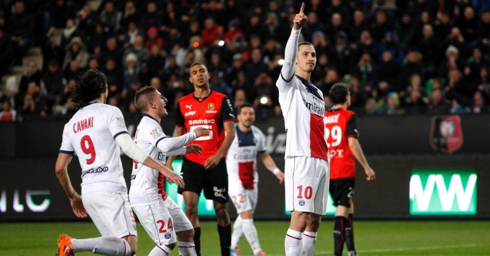 14.12.2013 - Ibrahimovic comemora gol do PSG contra o Rennes
