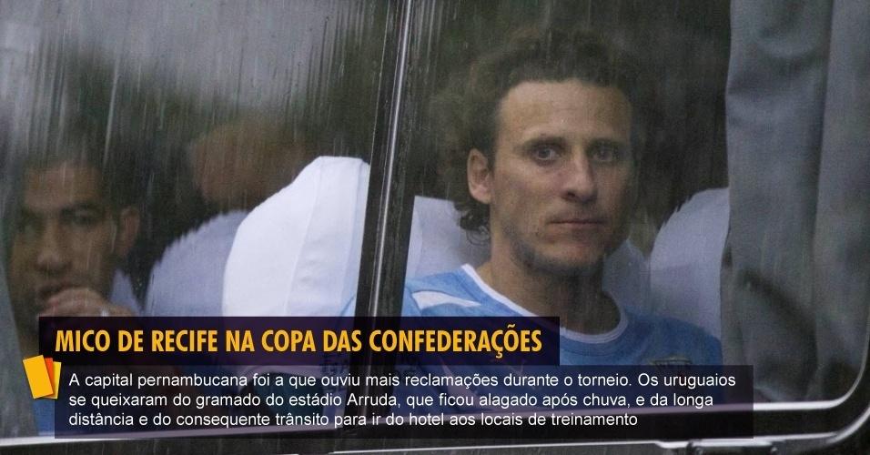 A capital pernambucana foi a que ouviu mais reclamações durante o torneio. Os uruguaios se queixaram do gramado do estádio Arruda, que ficou alagado após chuva, e da longa distância e do consequente trânsito para ir do hotel aos locais de treinamento