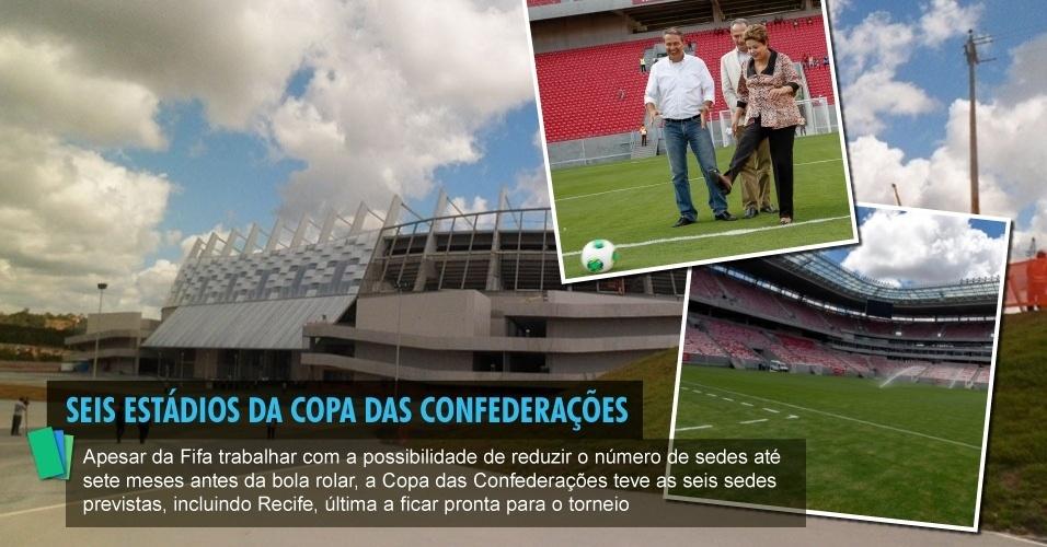 Apesar da Fifa trabalhar com a possibilidade de reduzir o número de sedes até sete meses antes da bola rolar, a Copa das Confederações teve as seis sedes previstas, incluindo Recife, última a ficar pronta para o torneio