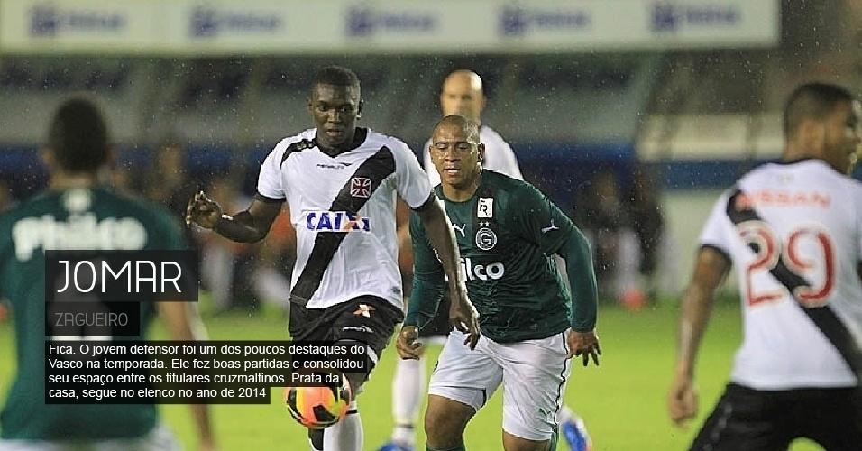 Fica. O jovem defensor foi um dos poucos destaques do Vasco na temporada. Ele fez boas partidas e consolidou seu espaço entre os titulares cruzmaltinos. Prata da casa, segue no elenco no ano de 2014.