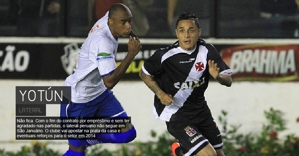 Não fica. Com o fim do contrato por empréstimo e sem ter agradado nas partidas, o lateral peruano não segue em São Januário. O clube vai apostar na prata da casa e eventuais reforços para o setor em 2014.