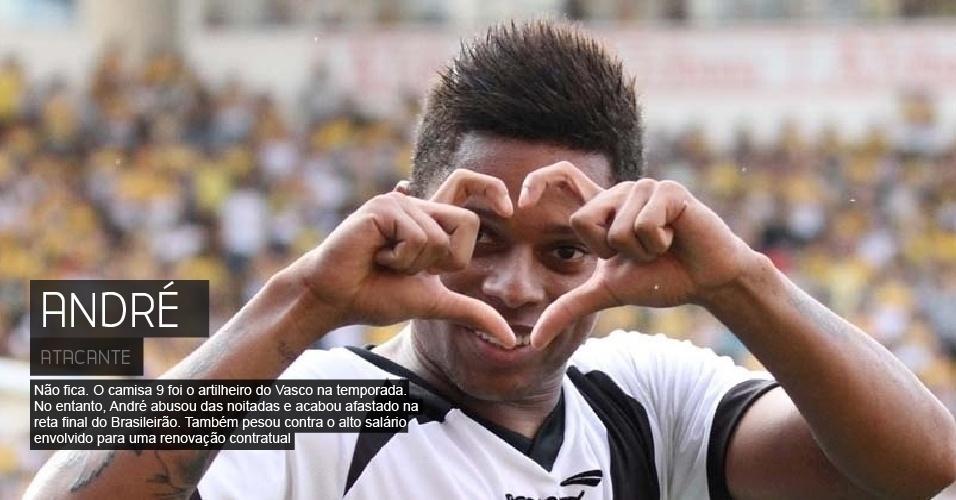 Não fica. O camisa 9 foi o artilheiro do Vasco na temporada. No entanto, André abusou das noitadas e acabou afastado na reta final do Brasileirão. Também pesou contra o alto salário envolvido para uma renovação contratual.