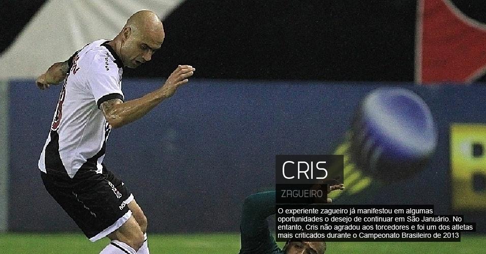 O experiente zagueiro já manifestou em algumas oportunidades o desejo de continuar em São Januário. No entanto, Cris não agradou aos torcedores e foi um dos atletas mais criticados durante o Campeonato Brasileiro de 2013.