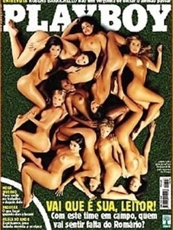 """Playboy mostra suas musas da Copa de 2002 e até brinca: """"quem vai sentir falta de Romário"""", fazendo alusão ao corte do jogador, por lesão"""