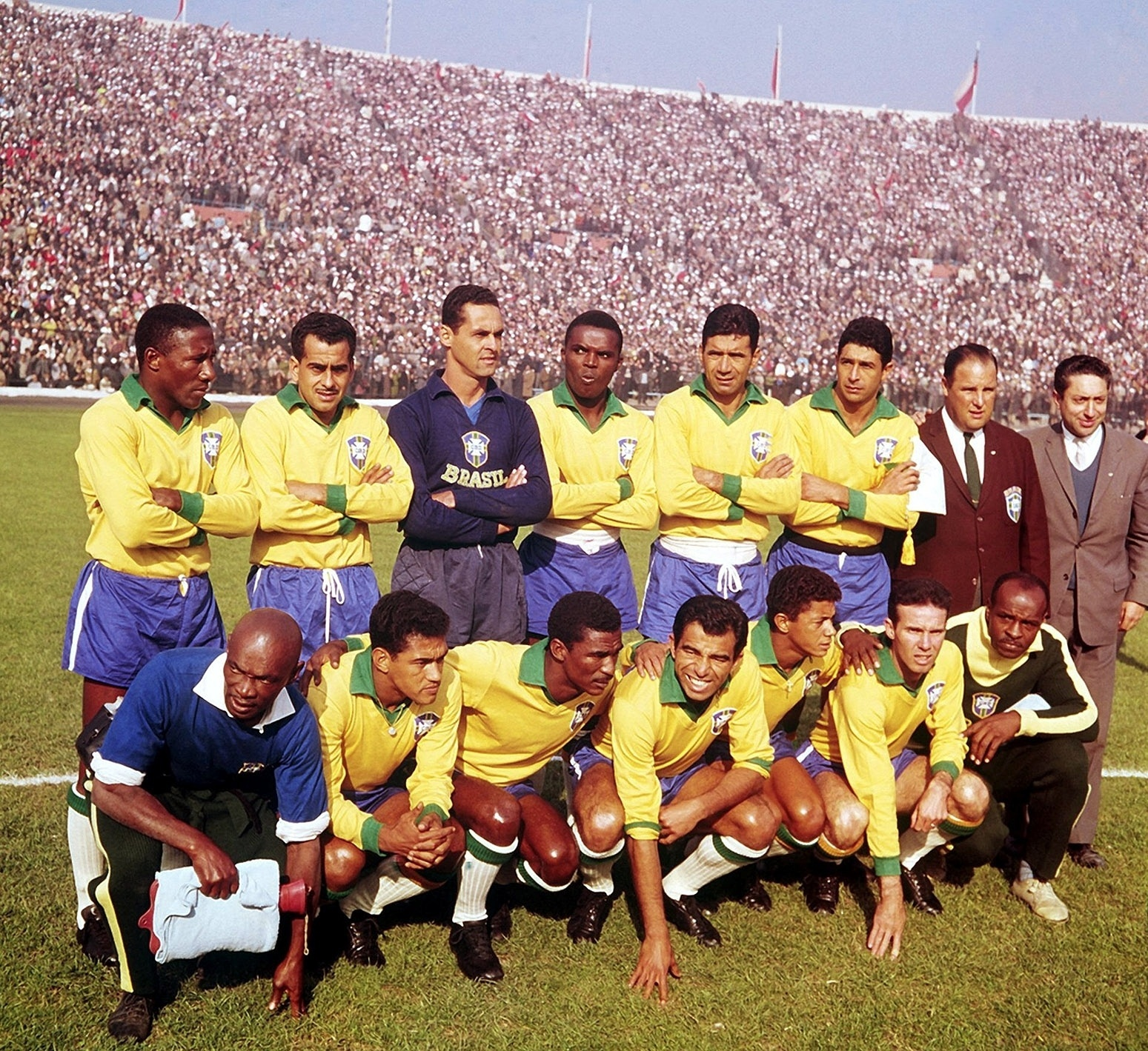 Uma das fotos históricas da coleção de Harley Lima Fernandes é esta: jogadores da seleção brasileira posam antes da semifinal da Copa do Mundo-1962 contra o Chile