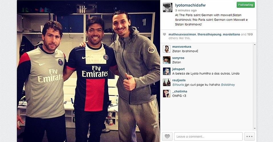 Em passagem por Paris, Lyoto Machida vai a treino do PSG e conhece Maxwell e Ibrahimovic