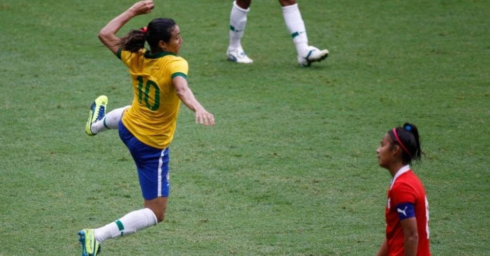 Marta celebra segundo gol da seleção na final contra o Chile 6a9adb16617b5