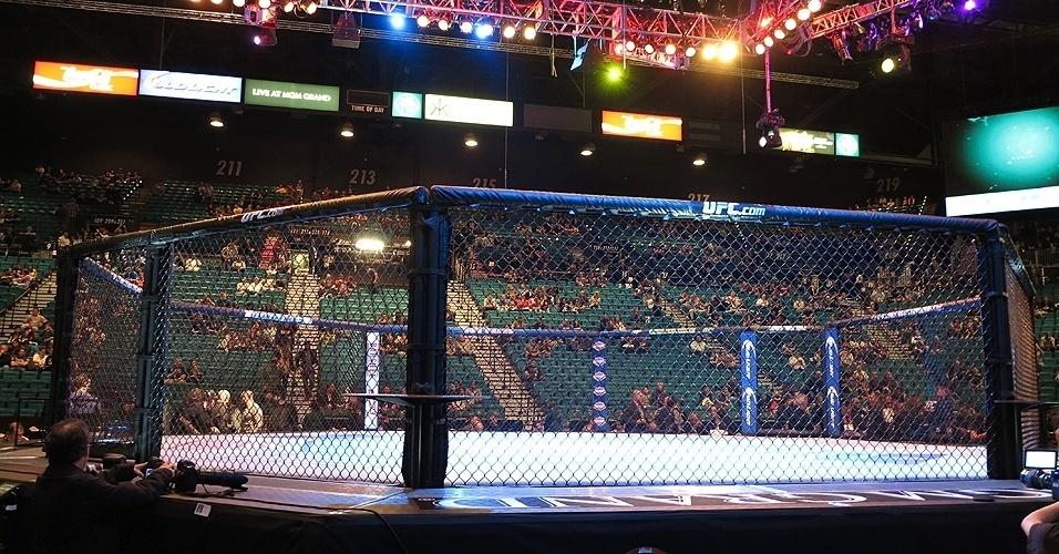 28.dez.2013 - Público já vai se acomodando no MGM Grand Garden Arena para o início do card preliminar do UFC 168