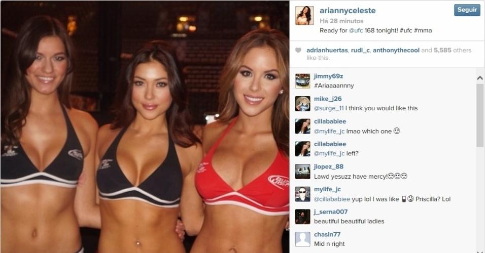 28.dez.2013 - Ring girls do UFC posam para foto antes do início do card preliminar do UFC 168