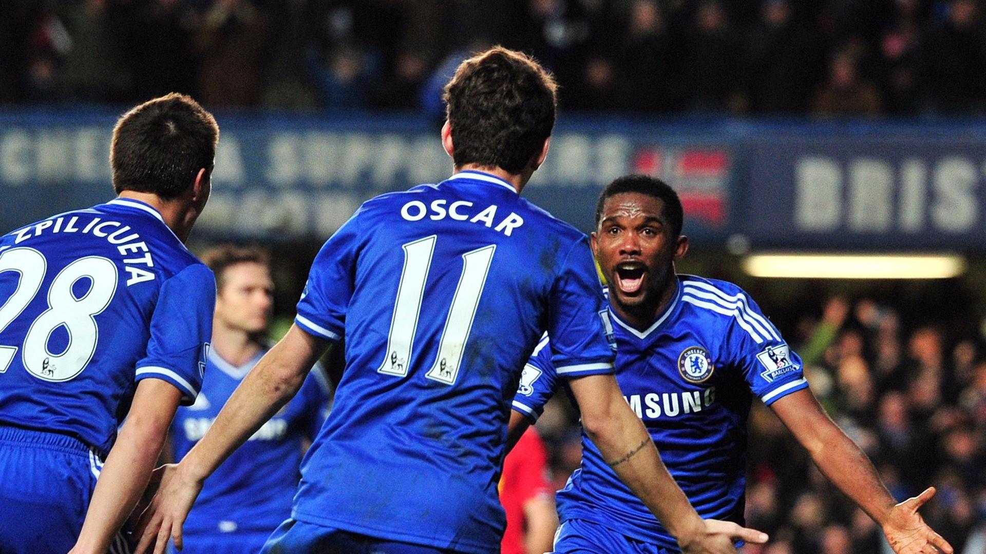 29.dez.2013 - Samuel Eto'o comemora o gol marcado pelo Chelsea