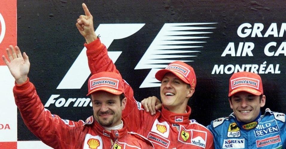 Fisichella ao lado de Rubinho e Schumacher em 2010