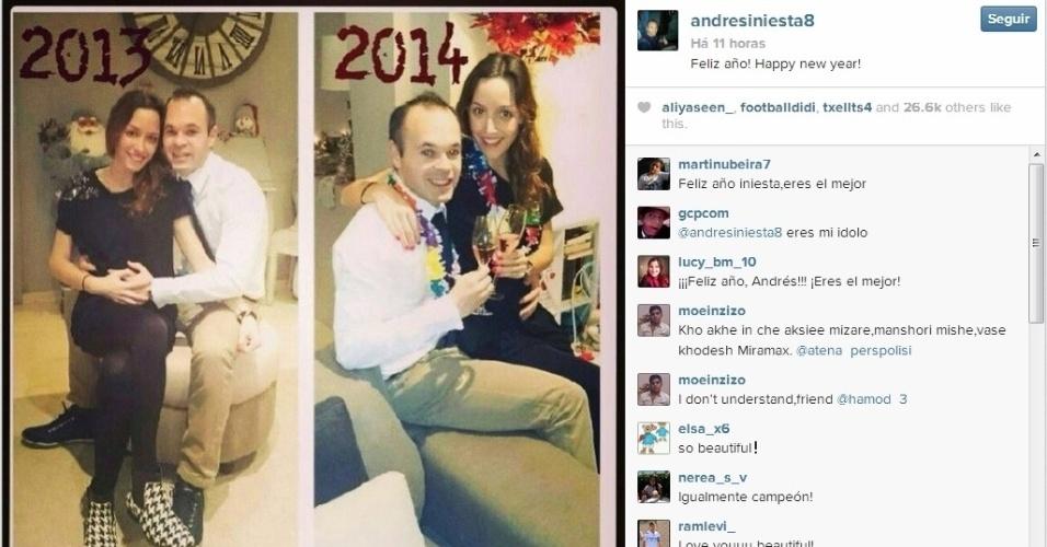 O jogador do Barcelona Iniesta passou a virada de ano ao lado da esposa, Anna Ortiz