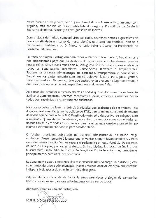 02.jan.2014 - Ilídio Lico, novo presidente da Portuguesa, emite carta em primeiro dia no clube