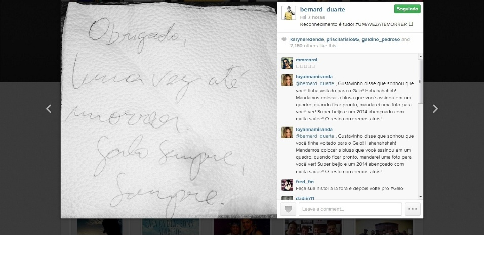 2 jan 2014 - Atacante Bernard posta mensagem recebida de torcedor