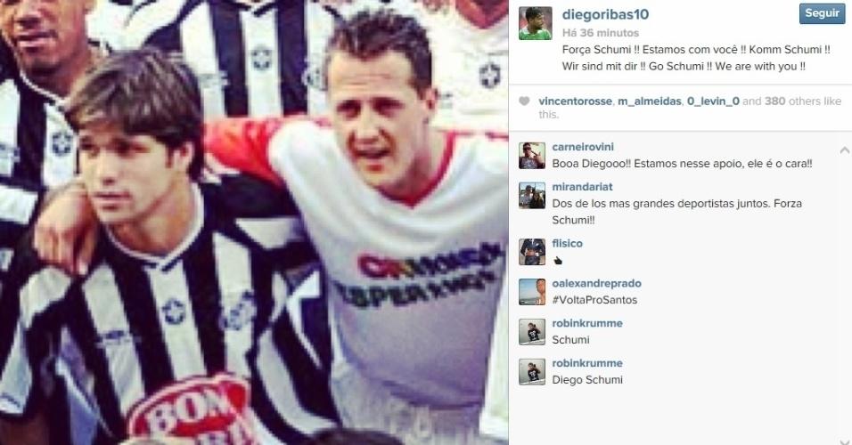 Diego, ex-Santos, posta mensagem de apoio a Michael Schumacher