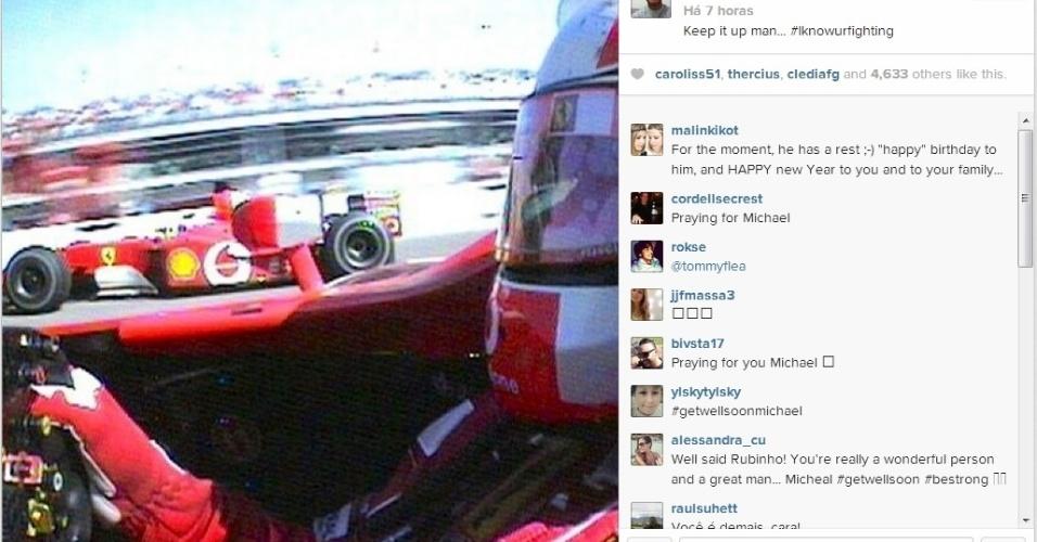 Rubinho posta foto de Schumacher e diz que sabe que ele está lutando pela vida