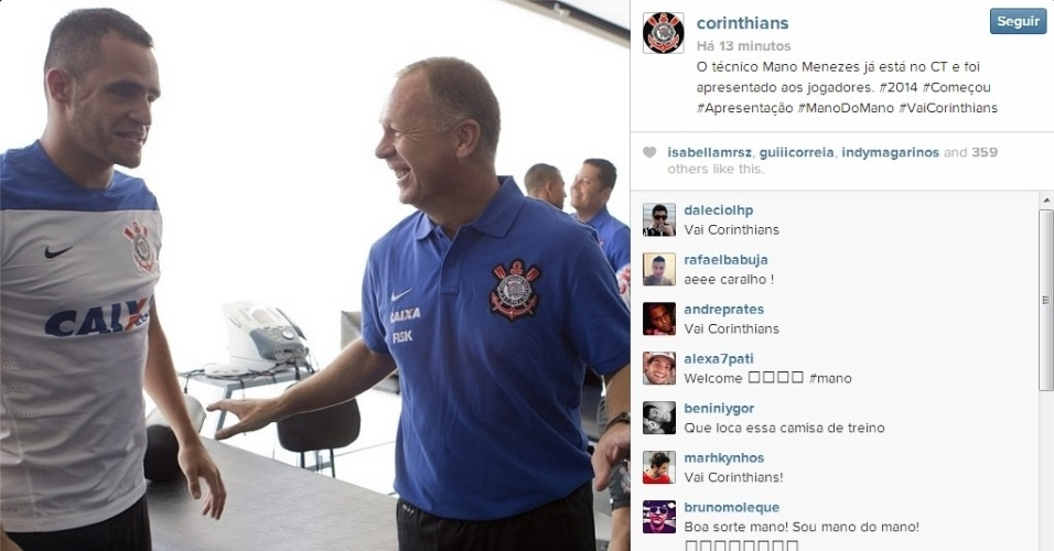 06.jan.2013 - Antes da apresentação oficial no Corinthians, o técnico Mano Menezes já conversou com os atletas no CT do clube