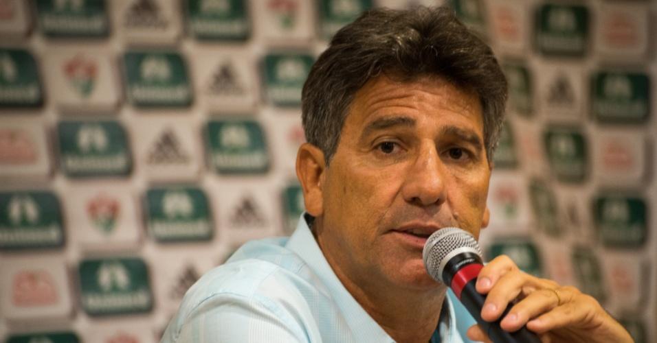 8.jan.2014 - O técnico Renato Gaúcho concede coletiva de imprensa no Fluminense