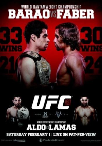 Após o anúncio da saída de Dominick Cruz, novamente lesionado, o UFC 169 divulgou um novo pôster, agora colocando o brasileiro Renan Barão (esq.) com o cinturão dos galos a ser defendido e Uriah Faber como novo desafiante