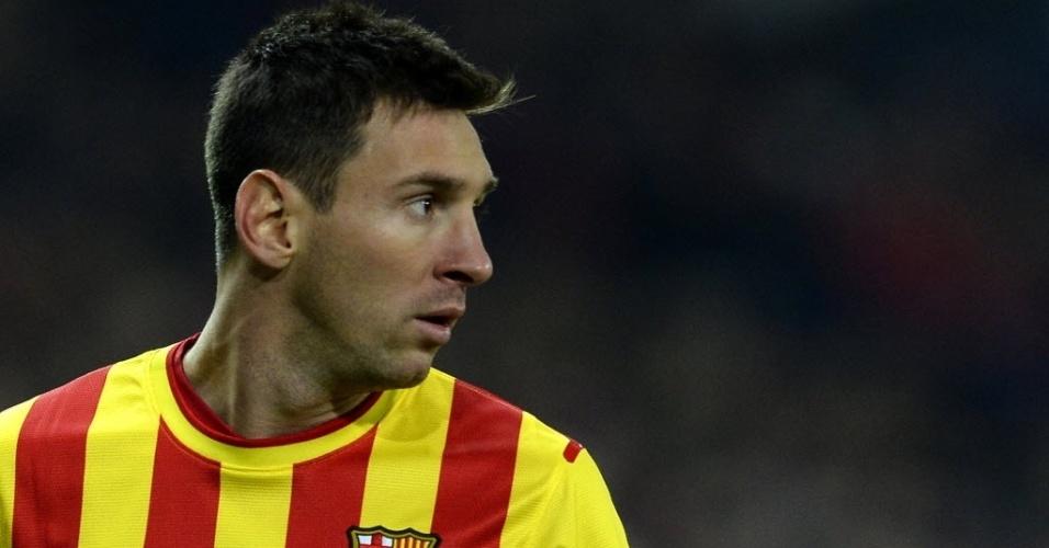 11. jan. 2014 - Lionel Messi entra em campo para reforçar o Barcelona contra o Atlético de Madri pelo Campeonato Espanhol
