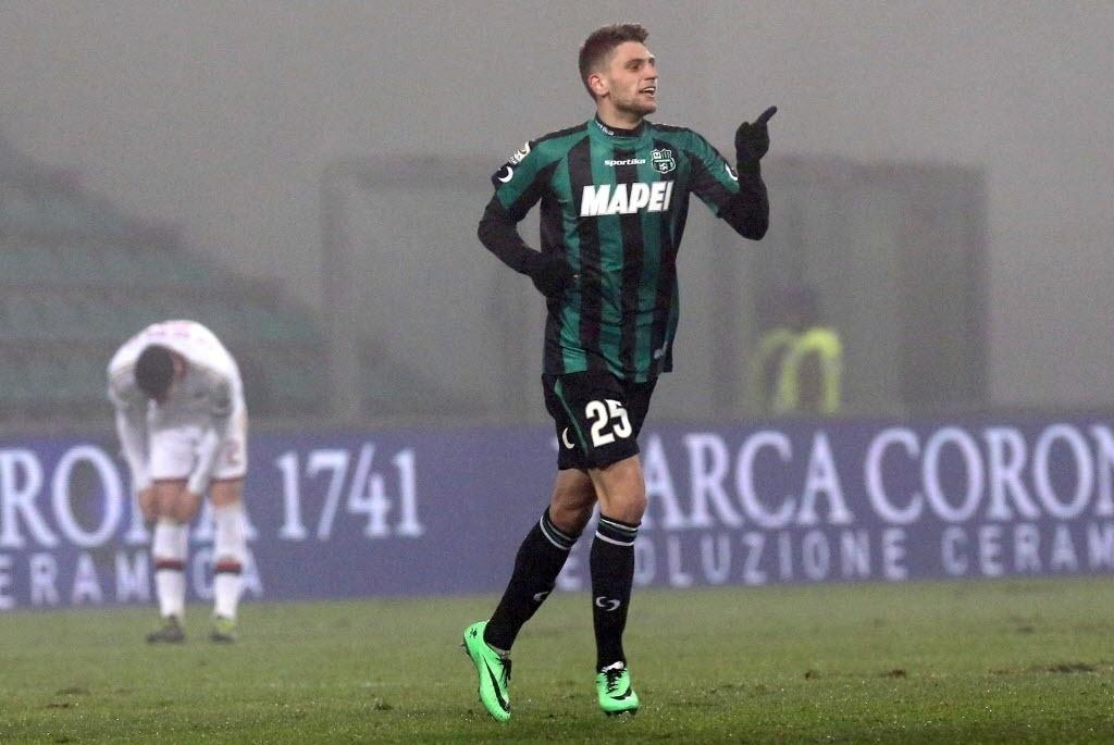 12. jan. 2014 - Berardi, comemora o gol marcado pelo Sassuolo. Artilheiro marcou quatro gols na partida contra o Milan