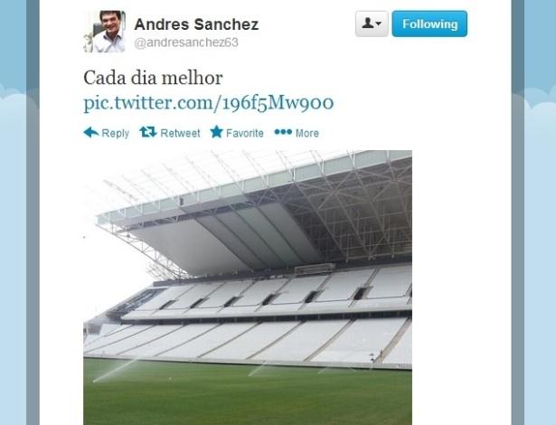 Andrés Sanchez divulga foto do Itaquerão