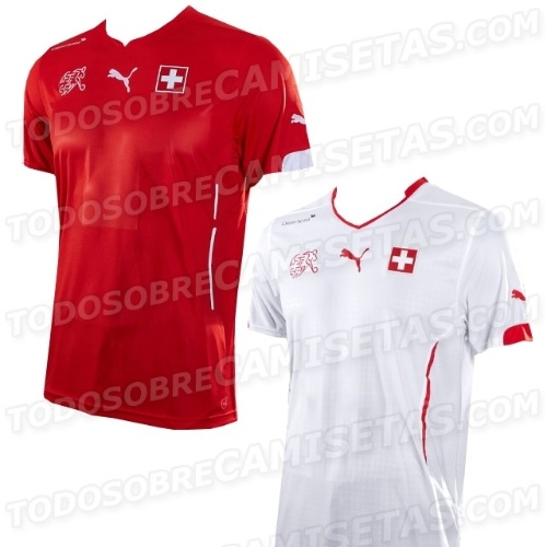 Uniformes que serão usados pela Suíça na Copa de 2014