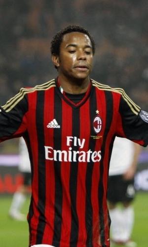 15. jan. 2014 - Robinho comemora gol marcado pelo Milan contra o Spezia pela Copa da Itália