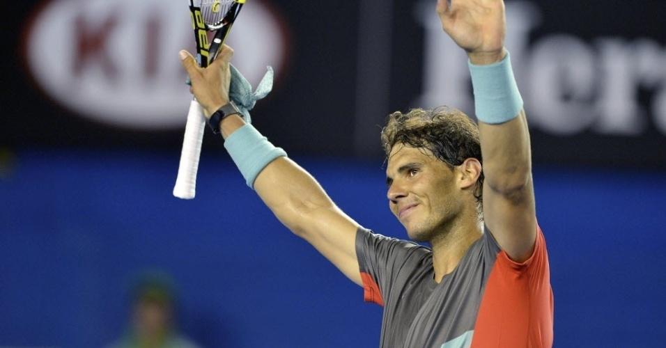 16.jan.2014 - Rafael Nadal comemora após vencer Thanasi Kokkinakis no Aberto da Austrália