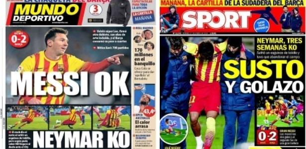 Capas dos jornais espanhóis destacaram lesão de Neymar e boa atuação de Messi - Reprodução