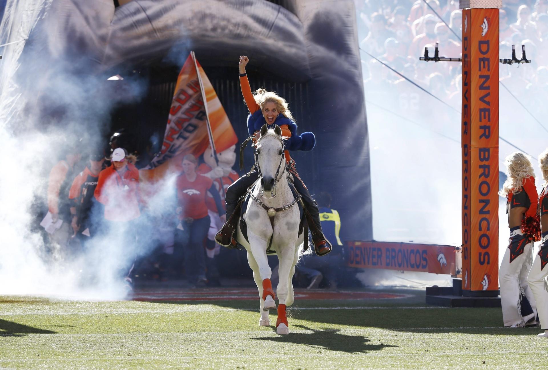 19.jan.2014 - Cavalo 'Thunder' entra no gramado do Sports Authority Field antes de partida entre Broncos e Patriots, pela NFL