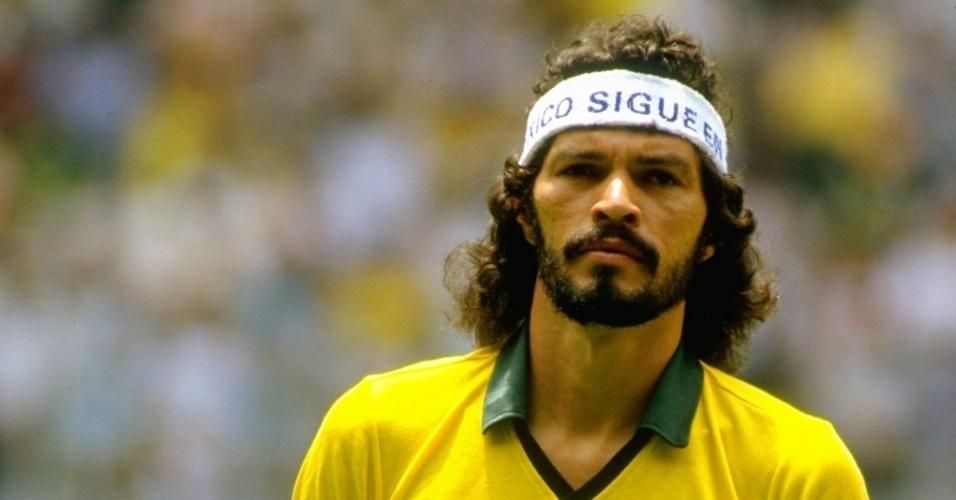 Sócrates antes de partida contra a Espanha na Copa do Mundo de 1986