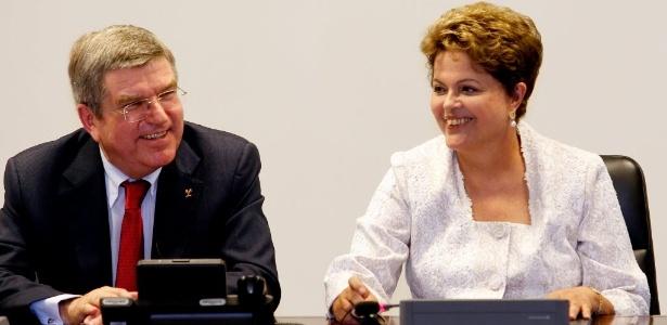 Dilma se reúne com o novo presidente do COI, Thomas Bach, em Brasília na terça-feira (21): simpatia mútua
