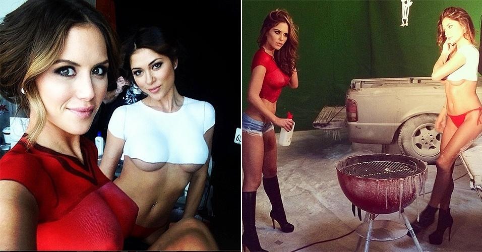 As ring girls do UFC Arianny Celeste e Brittney Palmer fizeram um ensaio especial em que apareciam apenas com o corpo pintado