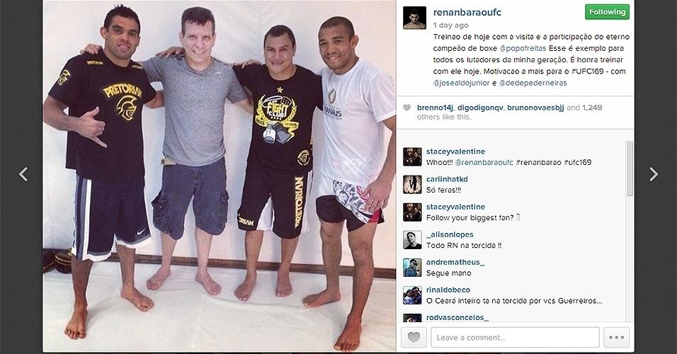 Ex-campeão mundial de boxe Popó treinou com José Aldo e Renan Barão para o UFC 169