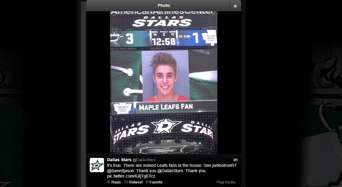 Prisão de Justin Bieber vira piada em telão da NHL