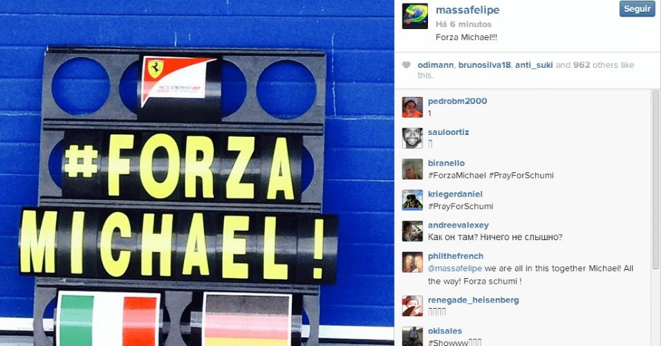 29.01.14 - No Instagram, Massa, agora na Williams, postou foto da placa da Ferrari em homenagem a Schumacher