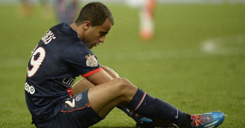 31.jan.2014 - Lucas foi titular do PSG na partida contra o Bordeaux e teve boa atuação, coroada com duas assistências