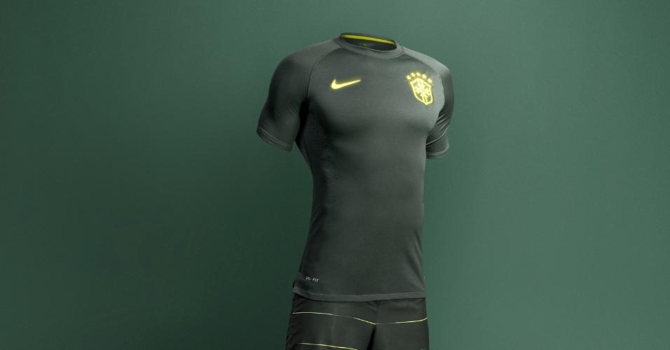 c6a1eb044a Nike revela o novo terceiro uniforme da seleção brasileira. Confira - Copa  do Mundo 2014 - BOL Notícias