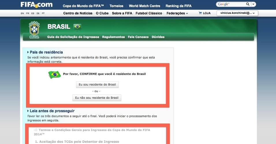 Antes de solicitar seus ingressos, o torcedor deve informar se reside no Brasil e ler o regulamento de venda das entradas para jogos da Copa