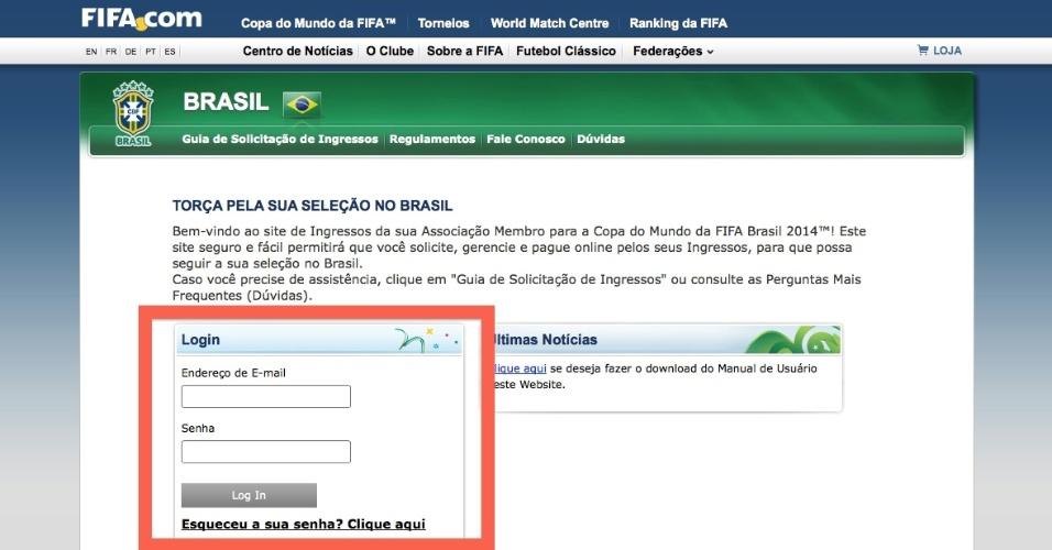 O site da Fifa vai solicitar o registro de usuário novamente. O torcedor deve informar o mesmo utilizado no primeiro acesso ao sistema